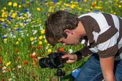 Young handsome caucasian photographer/videographer in botanic gardens. Stock Photo