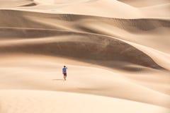 Young tourist in shorts hiking in giant dunes. Young handsome caucasian tourist in shorts and straq hat hiking in Liwa desert dunes. Abu Dhabi, UAE Royalty Free Stock Photo