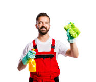 Young handsome cleaner Stock Photos