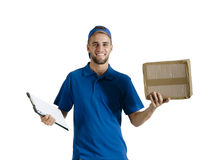 Young handsome courier guy making delivery of parcel Stock Photography