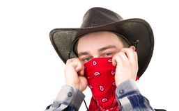 Young handsome cowboy with balaclava Royalty Free Stock Photos