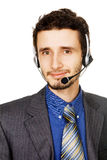 Young handsome customer service operator Stock Images