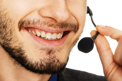 Young handsome customer service operator. Closeup photo Royalty Free Stock Images
