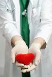 Young handsome doctor holding heart in hand Royalty Free Stock Images