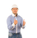 Young Handsome Engineer on Two Thumbs Up Royalty Free Stock Photography