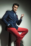 Young handsome fashion man pointing up. Royalty Free Stock Photos