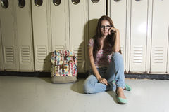 Young handsome female student at the college Stock Photo
