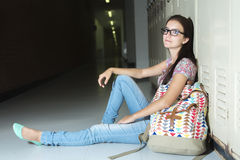 Young handsome female student at the college Royalty Free Stock Images