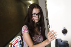 Young handsome female student at the college Royalty Free Stock Image