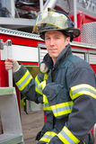 Young Handsome Firefighter Station Portrait Stock Photography