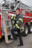 Young Handsome Firefighter Station Portrait Stock Images