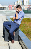 Young handsome frustrated  businessman outdoor Royalty Free Stock Images