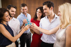 Young and handsome group of friends drinking shots Royalty Free Stock Photography