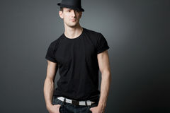 Young handsome guy in black t-shirt. Royalty Free Stock Images