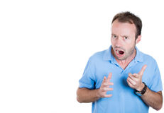 young handsome guy completely stunned and angry shocked Royalty Free Stock Photos