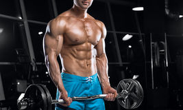 Young handsome guy doing exercises in the gym Royalty Free Stock Image