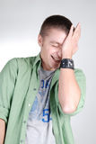 Young handsome guy laughing Stock Image
