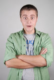 Young handsome happy surprised guy Stock Images