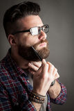Young handsome hipster with beard Stock Photography