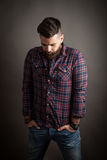 Young handsome hipster with beard Royalty Free Stock Image