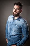 Young handsome hipster with beard Royalty Free Stock Photography