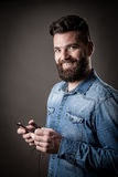 Young handsome hipster with beard Royalty Free Stock Images