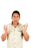 Young handsome hispanic man expressing anger. Closeup portrait young handsome hispanic man expressing anger isolated on white Stock Photos