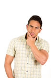 Young handsome hispanic man expressing doubt Royalty Free Stock Photos