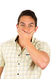 Young handsome hispanic man expressing surprise Stock Image
