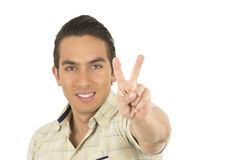 Young handsome hispanic man posing gesturing peace Royalty Free Stock Image