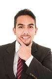 Young handsome hispanic man in a suit Stock Photo