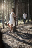 Young handsome Indian couple spending afternoon in forest Stock Photography