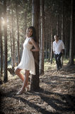 Young handsome Indian couple spending afternoon in forest Royalty Free Stock Photos