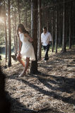 Young handsome Indian couple spending afternoon in forest Royalty Free Stock Images