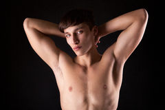 Young handsome male model with nude torso Royalty Free Stock Photos