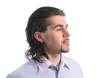 Young handsome male profile isolated white royalty free stock images
