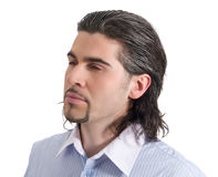 Young handsome male profile isolated white. Young dark haired caucasian man in light blue striped shirt looking sideways isolated on white Stock Photo