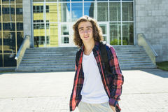 Young handsome male student at the college Royalty Free Stock Image