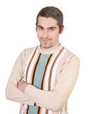 Young handsome male in sweater isolated. Young dark haired caucasian man in striped sweater isolated on white Royalty Free Stock Image