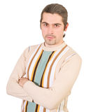 Young handsome male in sweater isolated. Young dark haired caucasian man in striped sweater isolated on white Stock Image