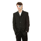 Young handsome man in 3d glasses. Isolated on white royalty free stock image