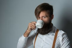 Young handsome man with a beard. In a white shirt and yellow suspenders with cup coffee or tea on a gray background stock image