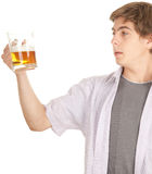 Young handsome man with beer Royalty Free Stock Photography