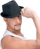 Young handsome man in black hat Royalty Free Stock Image