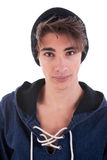 Young and handsome man with a black hood Royalty Free Stock Photo