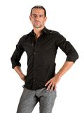 Young handsome man in black shirt Royalty Free Stock Photography