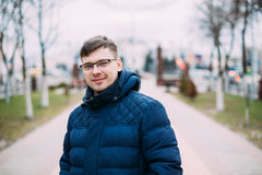 Young Handsome Man In Blue Jacket Outdoor. Spring Season. Royalty Free Stock Photography