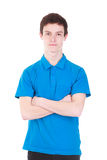 Young handsome man in blue t-shirt isolated on white. Young handsome man wearing blue t-shirt isolated on white background Stock Images