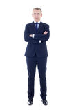 Young handsome man in business suit isolated on white. Background Stock Photos