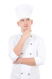 Young handsome man chef dreaming isolated over white Royalty Free Stock Images
